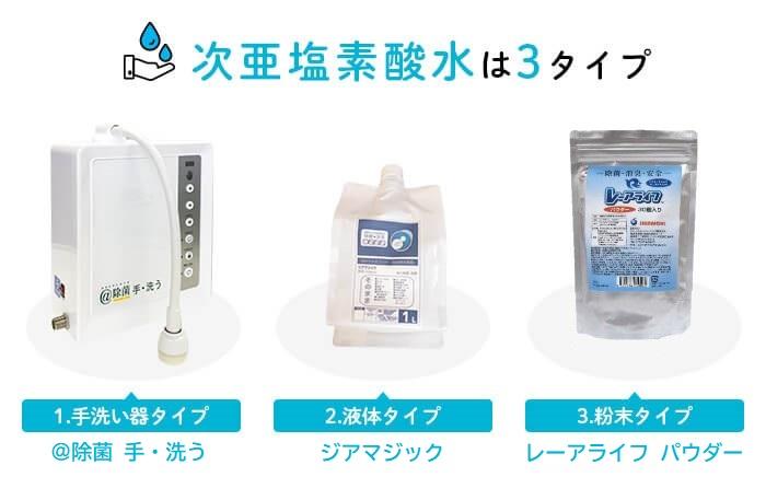 次亜塩素酸水は3タイプ